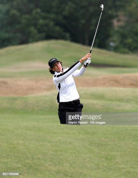 USA's Juli Inkster plays a shot on the 4th fairway during the third round of the Weetabix Women's British Open at Royal Lytham and St Annes Lancashire
