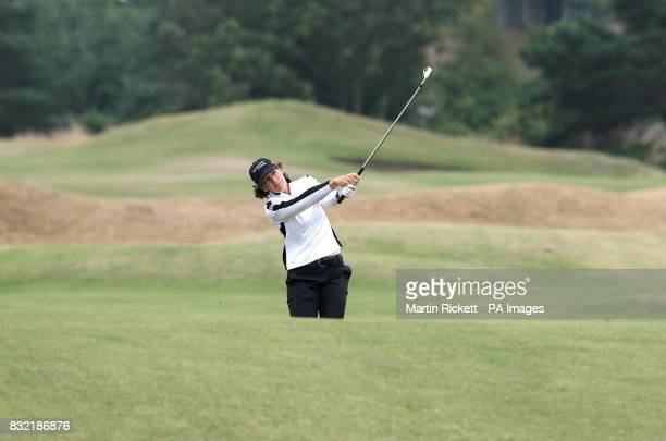 USA's Juli Inkster plays a shot on the fourth green during the third round of the Weetabix Women's British Open at Royal Lytham and St Annes...
