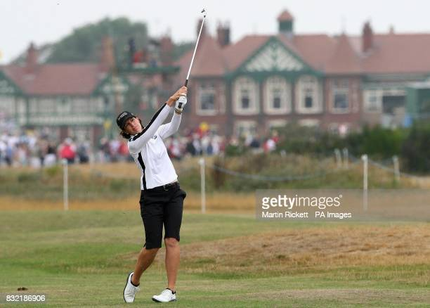 USA's Juli Inkster plays a shot on the third fairway during the third round of the Weetabix Women's British Open at Royal Lytham and St Annes...