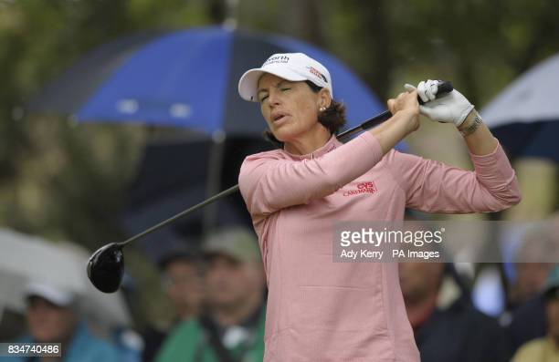 USA's Juli Inkster reacts to a poor tee shot on the 14th during Round Two of the Ricoh Women's British Open at Sunningdale Golf Club Berkshire