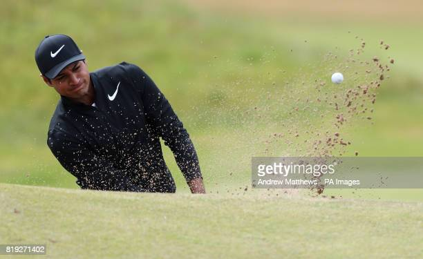 USA's Julian Suri chips out of a bunker on the 1st during day one of The Open Championship 2017 at Royal Birkdale Golf Club Southport