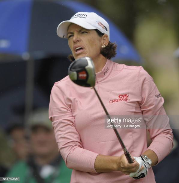 USA's Julie Inkster reacts to her poor tee shot on the 14th during Round Two of the Ricoh Women's British Open at Sunningdale Golf Club Berkshire
