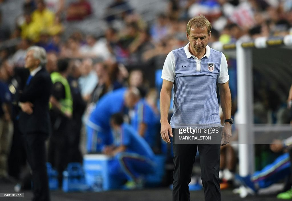 USA's Jurgen Klinsmann is seen during the Copa America Centenario third place football match against Colombia in Glendale, Arizona, United States, on June 25, 2016. / AFP / Mark RALSTON