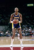 PORTLAND OR CIRCA 1980's Kareem AbdulJabbar of the Los Angeles Lakers in action set to shoot a freethrow against the Portland Trailblazers during a...
