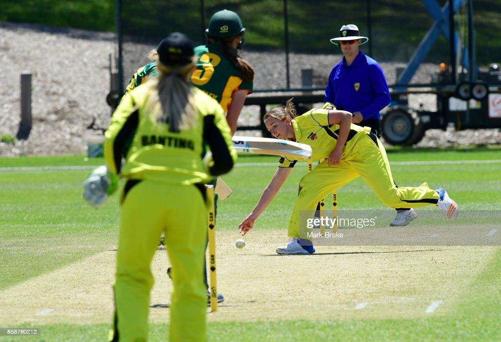 WA's Kate Cross fields a all from Tasmania's Erin Fazackerlyey during the WNCL match between Tasmania and Western Australia at Adelaide Oval No.2 on October 7, 2017 in Adelaide, Australia.