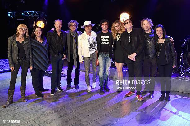 CMT's Kathryn Russ and Margaret Comeaux Switched On Entertainment's John Hamlin Cheap Trick's Tom Petersson and Robin Zander Big Machine Label...