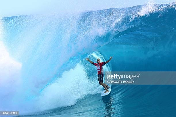USA's Kelly Slater rides a wave during the third day of the 14th edition of the Billabong Pro Tahiti surf event part of the ASP world tour on August...