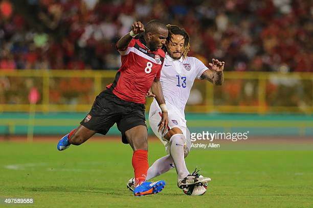 T's Khaleem Hyland battles to win the ball from USA's Jermaine Jones during a World Cup Qualifier between Trinidad and Tobago and USA as part of the...