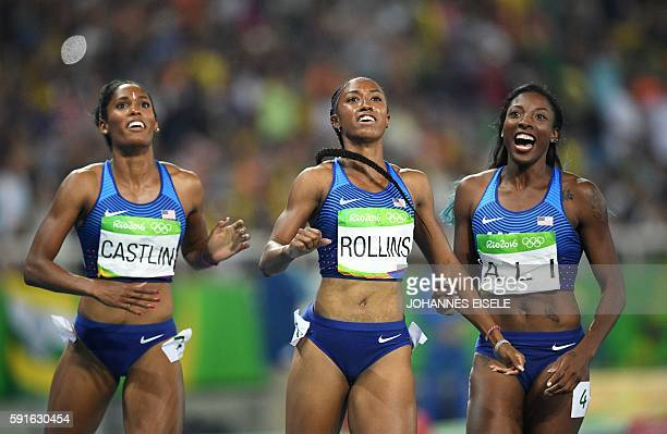 TOPSHOT USA's Kristi Castlin USA's Brianna Rollins and USA's Nia Ali celebrate after finishing respectively third first and second in the Women's...