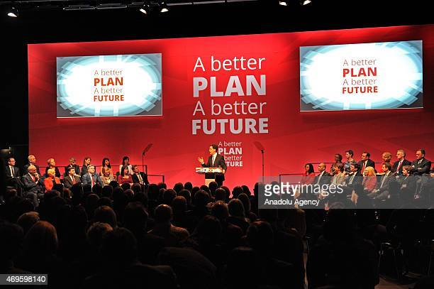 UK's Labour Party leader Ed Miliband addresses the launch of The Labour Party 2015 Election Manifesto at the Old Granada Studios in Manchester United...
