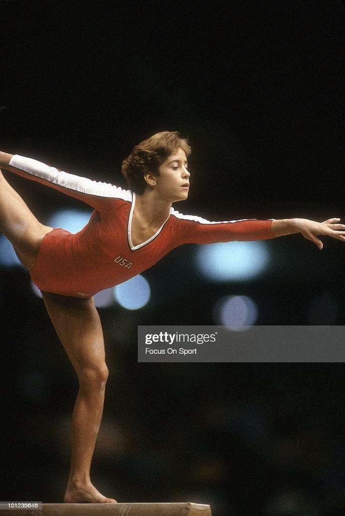 CIRCA 1980's: Ladies Gymnast Phoebe Mills competes on the balance beam circa late 1980's.