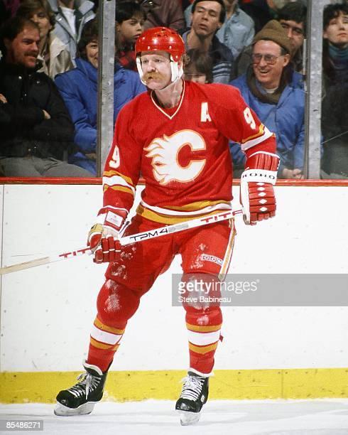 BOSTON MA 1980's Lanny McDonald of the Calgary Flames skates against the Boston Bruins at Boston Garden