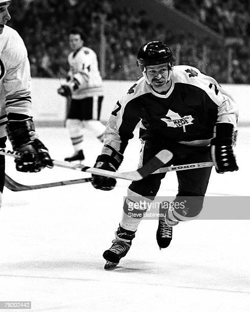BOSTON MA 1970's Lanny McDonald the Toronto Maple Leafs skates against the Boston Bruins at Boston Garden