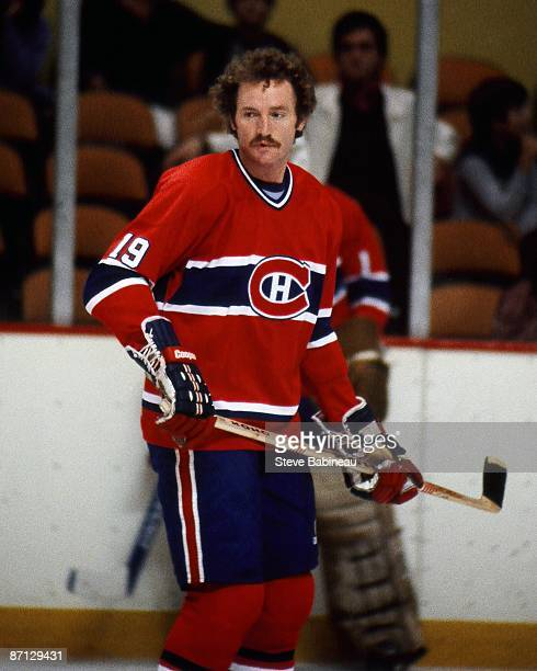 BOSTON MA 1970's Larry Robinson of the Montreal Canadiens skates in pre game warm up against the Boston Bruins at Boston Garden