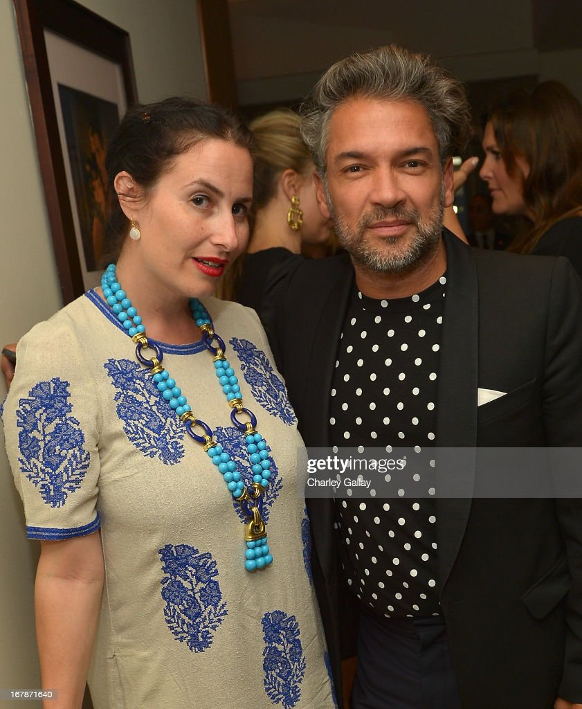 LAXART's Lauri Firstenberg (L) and Carlos Mota attend the David Webb Dinner in honor of LAXART at Sunset Tower on May 1, 2013 in West Hollywood, California.
