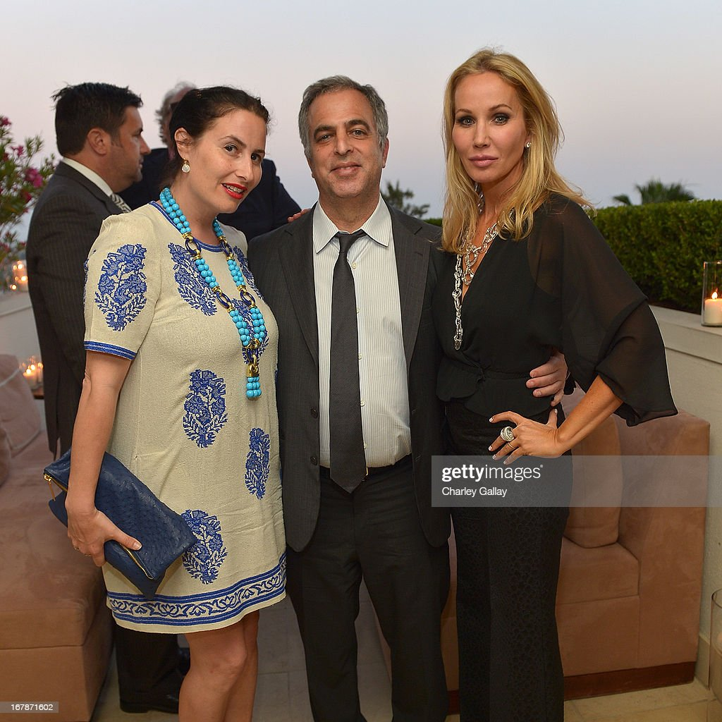 LAXART's Lauri Firstenberg, David Webb's Mark Emanuel and Brooke Davenport attend the David Webb Dinner in honor of LAXART at Sunset Tower on May 1, 2013 in West Hollywood, California.