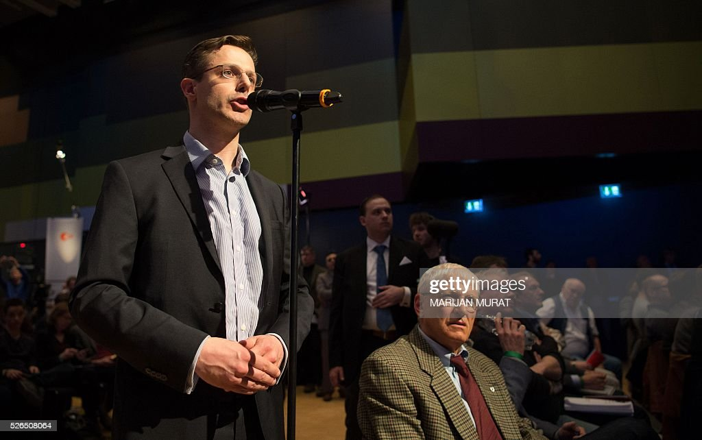 AFD's leader in North Rhine-Westphalia, Marcus Pretzell speaks during a party congress of the German right wing party AfD (Alternative fuer Deutschland) at the Stuttgart Congress Centre ICS on April 30, 2016 in Stuttgart, southern Germany. Pretzell said he had decided on his own to join the group 'Europe of Nations and Freedom' (ENL ), founded in June 2015 and co-chaired by Marine Le Pen. / AFP / dpa / Marijan Murat / Germany OUT