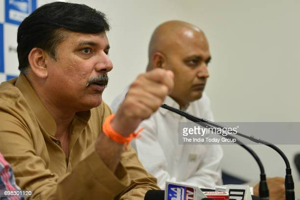 AAP's leader Sanjay Singh addresses a Press Conference in New Delhi