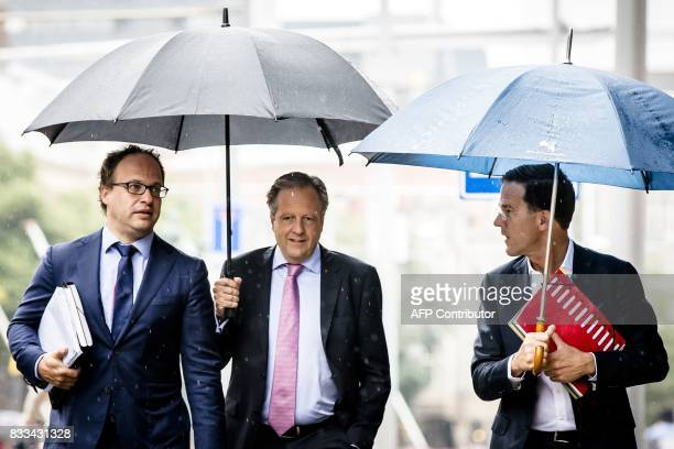 D66's leaders Wouter Koolmees Alexander Pechtold and Prime Minister Mark Rutte arrive for a meeting on a new government formation at the Johan de...