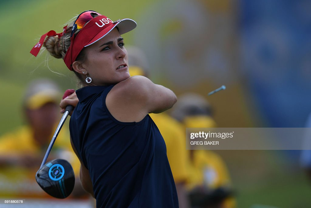 USA's Lexi Thompson competes in the Women's individual stroke play at the Olympic Golf course during the Rio 2016 Olympic Games in Rio de Janeiro on...