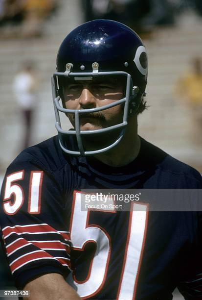 CHICAGO IL CIRCA 1970's Linebacker Dick Butkus of the Chicago Bears on the field before an NFL football game at Soldier Field in Chicago Illinois...