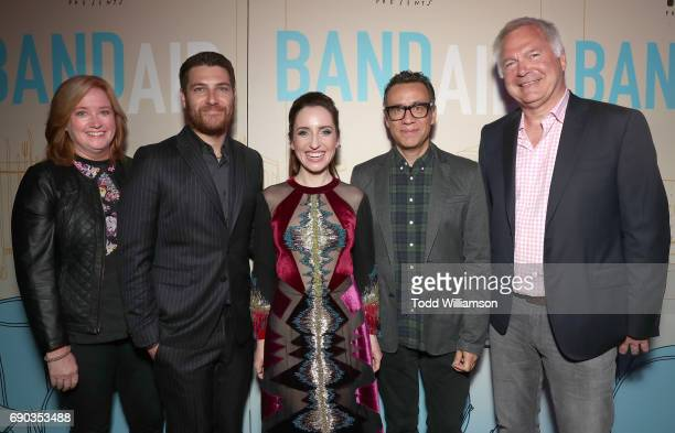 IFC's Lisa Schwartz Adam Pally Zoe ListerJones Fred Armisen and IFC's Jonathan Sehring attend the premiere of IFC Films' 'Band Aid' at The Theatre at...