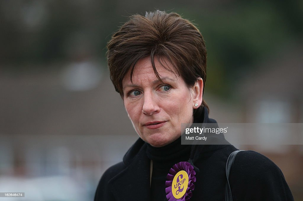 UKIP's local candidate Diane James campaigns for the forthcoming by-election on February 25, 2013 in Eastleigh, England. The by-election is being fought for the former seat of ex-Liberal Democrat MP Chris Huhne and will be held on February 28, 2013.