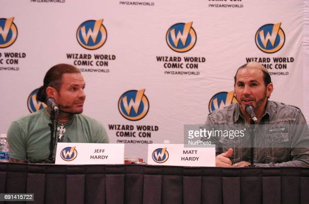 WWE's longtime tag team powerhouse the Hardy Boyz take questions from fans on the opening day of Wizard World Comin Con in Philadelphia PA on June 1...