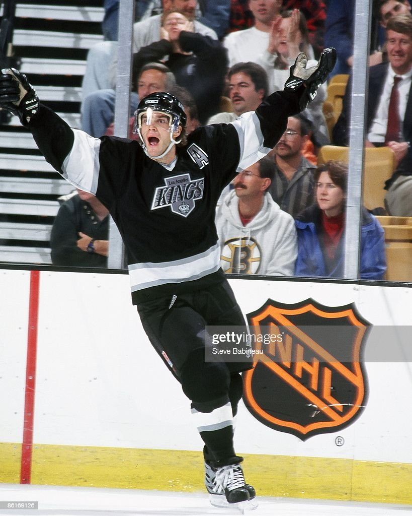 BOSTON MA 1990's Luc Robitaille of the Los Angeles Kings celebrates goal against the Boston Bruins at the Fleet Center in Boston