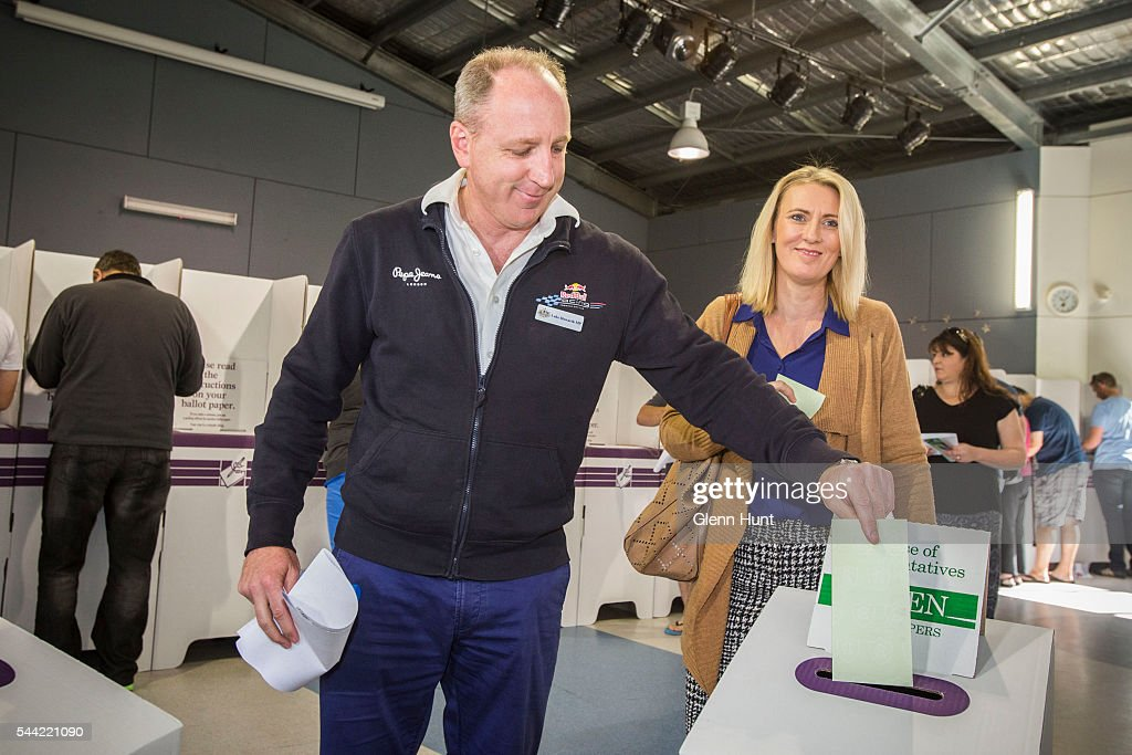 LNP's Luke Howarth with his wife Louise voting to retain his seat in the electorate of Petrie on July 2, 2016 in Brisbane, Australia. Voters head to the polls today to elect the 45th parliament of Australia.