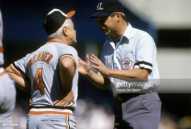 CIRCA 1970's Manager Earl Weaver of the Baltimore Orioles arguing with an umpire during a MLB baseball game circa mid 1970's Weaver Managed the...