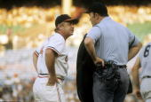 BALTIMORE MD CIRCA 1970's Manager Earl Weaver of the Baltimore Orioles arguing with the home plate umpire during a MLB baseball game circa early...