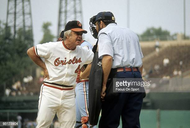 BALTIMORE MD CIRCA 1970's Manager Earl Weaver of the Baltimore Orioles arguing with the home plate umpire during a MLB baseball game circa 1970's at...