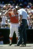 BALTIMORE MD CIRCA 1970's Manager Earl Weaver of the Baltimore Orioles arguing with the home plate umpire during a mid 1970's MLB baseball game at...