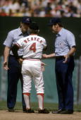 BALTIMORE MD CIRCA 1970's Manager Earl Weaver of the Baltimore Orioles arguing with two umpire during a mid 1970's MLB baseball game at Memorial...
