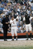BALTIMORE MD CIRCA 1970's Manager Earl Weaver of the Baltimore Orioles giving his changes to the home plate umpire during a MLB baseball game circa...