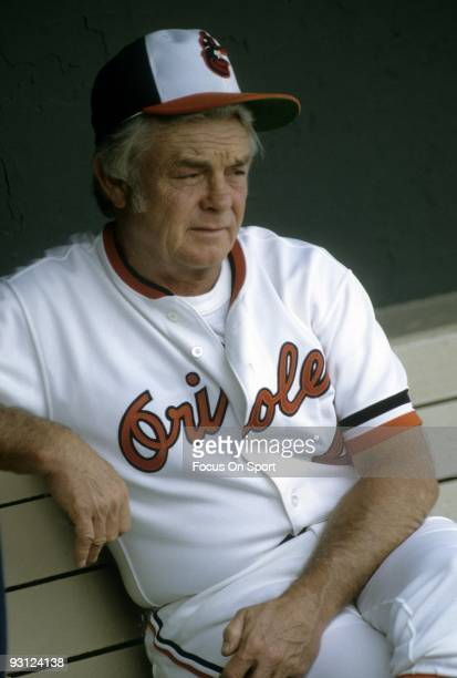 BALTIMORE MD CIRCA 1970's Manager Earl Weaver of the Baltimore Orioles sitting in the dougout prior to a circa mid 1970's MLB baseball game at...