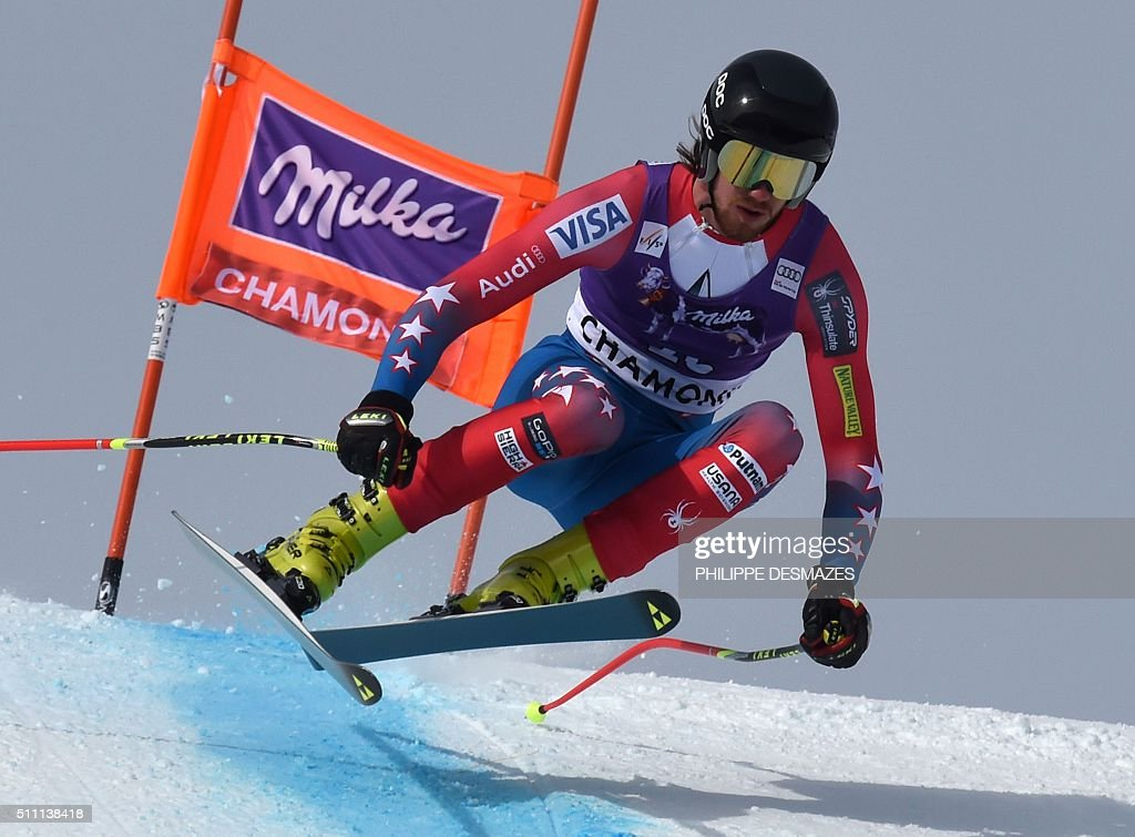 USA's Marco Sullivan takes part in the second training of the Kandahar FIS World Cup men's downhill race on 18 February 2016 in Les Houches near...