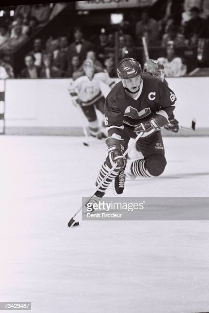 LAVAL CANADA 1980's Mario Lemieux of the Laval Voisins controls the puck during the game