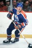 BOSTON MA 1980's Mark Messier of the Edmonton Oilers skates against the Boston Bruins at Boston Garden