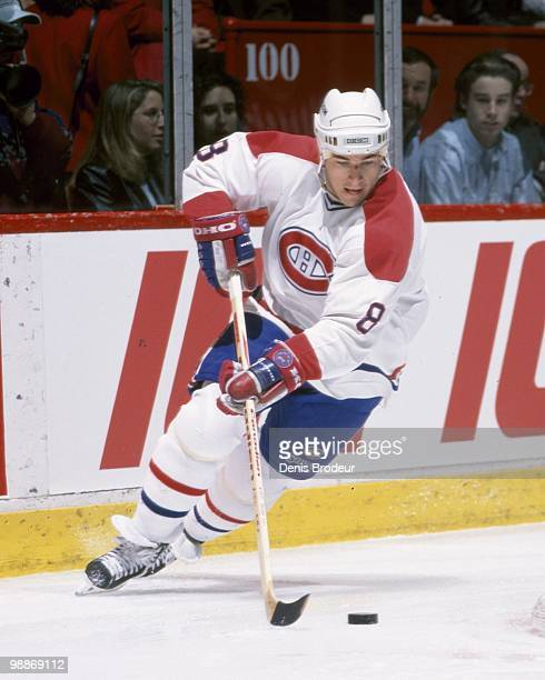 MONTREAL 1990's Mark Recchi of the Montreal Canadiens skates with the puck during the 1990's at the Montreal Forum in Montreal Quebec Canada Recchi...