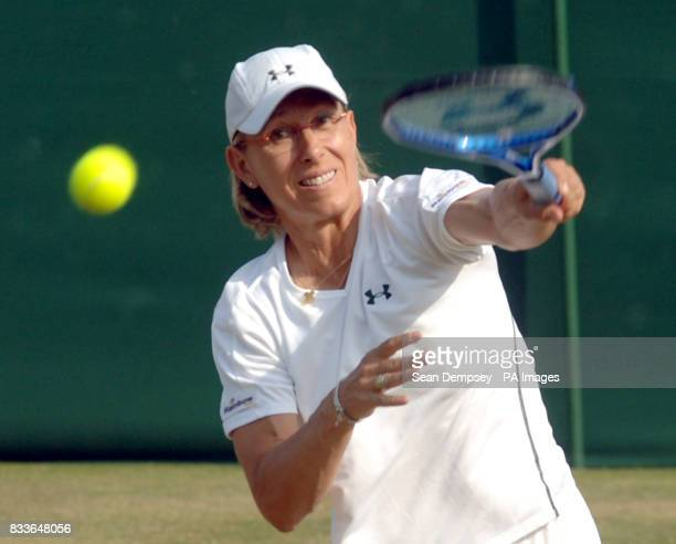 USA's Martina Navratilova in action during the Ladies' Doubles third round match at The All England Lawn Tennis Championships at Wimbledon
