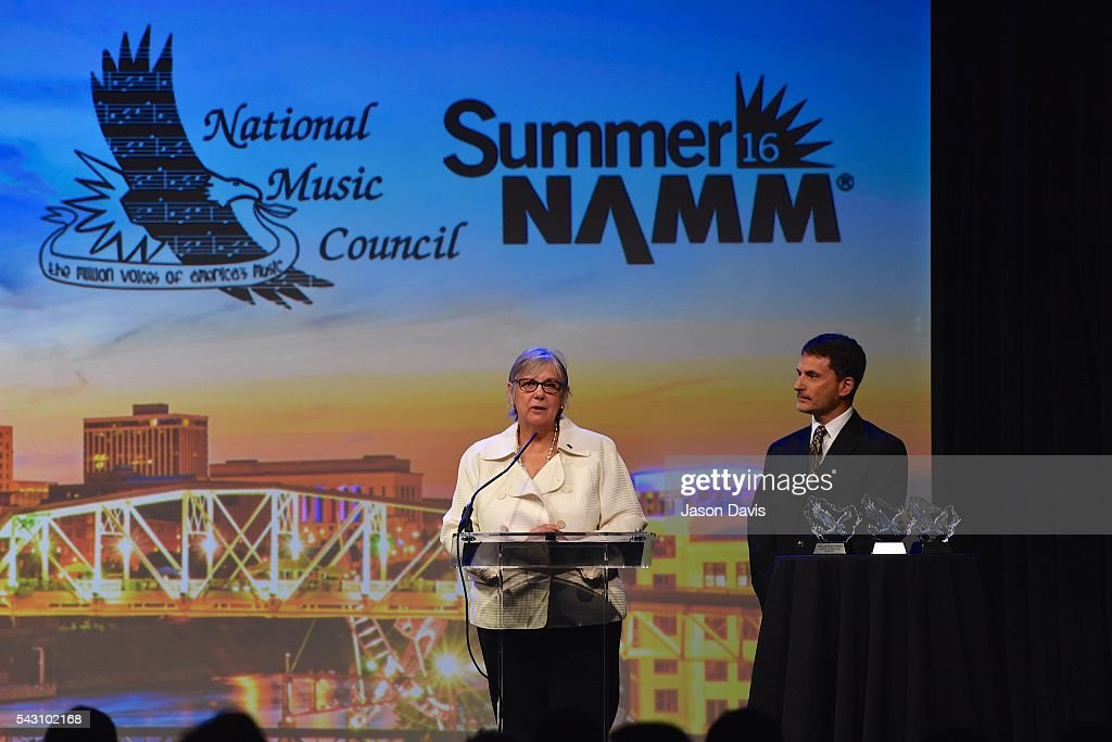 NAMM's Mary Luehrsen speaks at 33rd Annual American Eagle Awards during Music Industry Day at Summer NAMM in Music City Center on June 25, 2016 in Nashville, Tennessee.