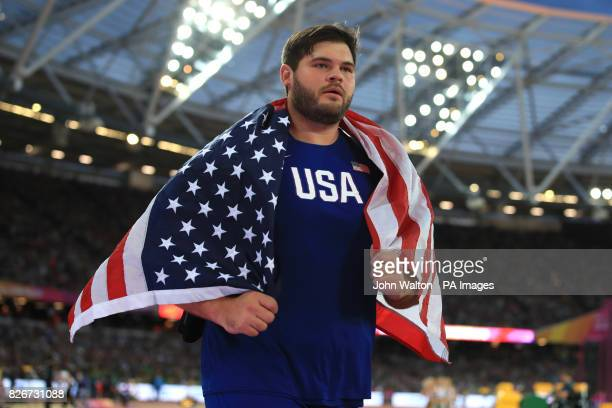 USA's Mason Finley celebrates winning bronze in the men's discus throw during day two of the 2017 IAAF World Championships at the London Stadium