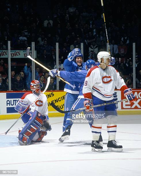 MONTREAL 1990's Mats Sundin of the Quebec Nordiques and his teammate celebrate a goal against Patrick Roy of the Montreal Canadiens in the early...