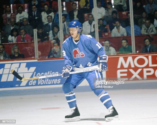 MONTREAL 1990's Mats Sundin of the Quebec Nordiques skates against the Montreal Canadiens in the early 1990's at the Montreal Forum in Montreal...
