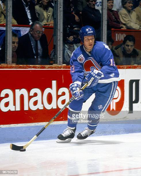 MONTREAL 1990's Mats Sundin of the Quebec Nordiques skates with the puck against the Montreal Canadiens in the early 1990's at the Montreal Forum in...