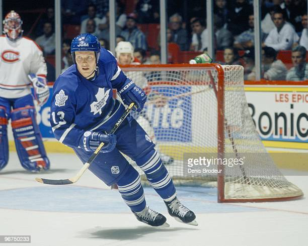 MONTREAL 1990's Mats Sundin of the Toronto Maple Leafs skates against the Montreal Canadiens in the 1990's at the Montreal Forum in Montreal Quebec...