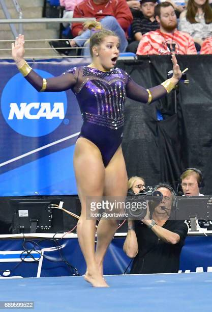 LSU's McKenna Kelley during her floor exercise during the finals of the NCAA Women's Gymnastics National Championship on April 15 at Chaifetz Arena...