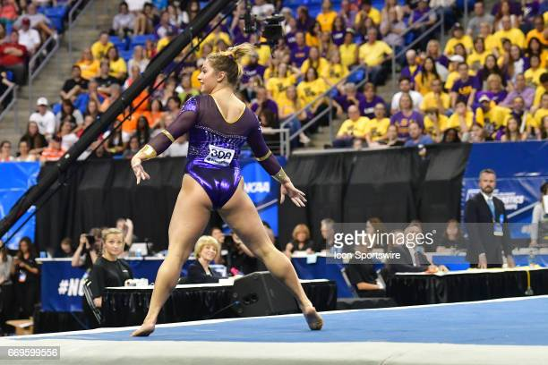 LSU's McKenna Kelley performs her floor exercise during the finals of the NCAA Women's Gymnastics National Championship on April 15 at Chaifetz Arena...